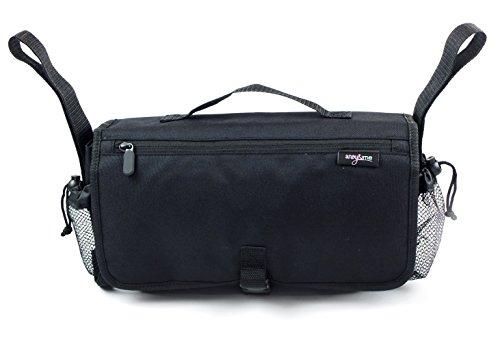 Anvy & Me Touring Universal Stroller Organizer Double Use: Elegant Organizer For Stroller & On The Go Travel Diaper Bag (Black)