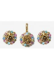 DollsofIndia Light Brown And Multicolor Stone Studded Pendant And Earrings - Metal And Acrylic Bead - Yellow