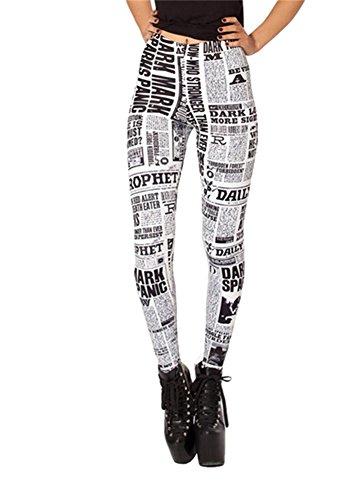 Women'S Fashion Digital Print Newspaper Pattern Sexy Leggings(Off-White)
