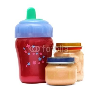 "Wallmonkeys Peel and Stick Wall Decals - Bottle and Food for Baby on a White Background - 18""H x 18""W Removable Graphic"