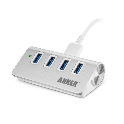 Anker USB3.0 高速ハブ 4ポート USB3.0ケーブル付き(60cm) アルミ製 ポータブルバスパワー 85 x 45 x 27mm USB1.1/2.0互換 日本語説明書付き (4 ポート 電源なし)