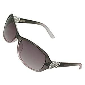 Lady Clear Gray Full Rim Plastic Frame Sunglasses