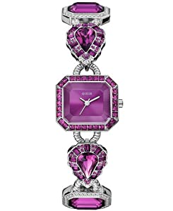 Guess Watch, Women's Purple Crystal-accent Silver-tone Bracelet U0222L4