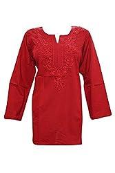 Indiatrendzs Women's Fashion Kurta Handmade Embroidered Cotton Red Tunic Top Chest:44