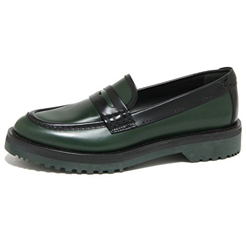 1819O mocassino CAR SHOE verde bosco/nero scarpe donna loafer women [39]