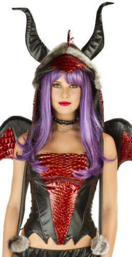 J Valentine Women's Faux Fur Hood for Hot Stuff Dragon Sexy Halloween Costume