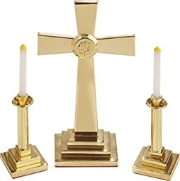 Solid Brass or Silvertone Altar Set - Cross (Silvertone), 7 H