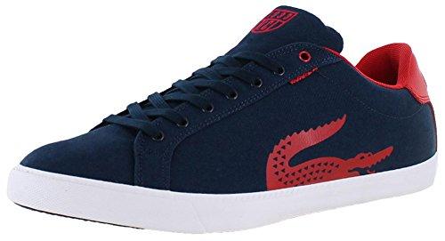 Lacoste Men's Grad Vulc TSPP Fashion Sneaker, Dark Blue/Red, 7.5 M US
