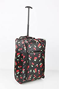 Majestic Lightweight Hand Luggage Wheeled Trolley Bag Cabin Ryan Air Easy Jet - Cherry - 55x35.5x20