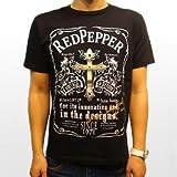 [レッドペッパージーンズ]REDPEPPERJEANS 正規品#41MT-03 メンズ 半袖 Tシャツ 光沢プリント メタリック 金色 ゴールドクロス 十字架 リーフ 柄 Uネック プリント ブラック 黒 ホワイト 白 ブランドトップス パンク メタル ロックテイスト 男性 紳士 ファッション