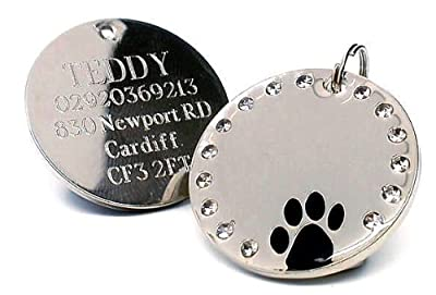 Personalised 30mm Round Crystal and Black Paw Dog Pet ID Tag Disc Engraved.......TO LEAVE ENGRAVING DETAILS PLEASE READ PRODUCT DESCRIPTION LOWER DOWN THIS PAGE.