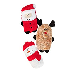 ZippyPaws Holiday Squeakie Buddies Squeaky No Stuffing Plush Dog Toy, 3-Pack