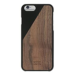 Native Union CLIC Wooden Case for iPhone 6 / 6s - Handcrafted Real Walnut Wood Protective Slim Cover (Black)