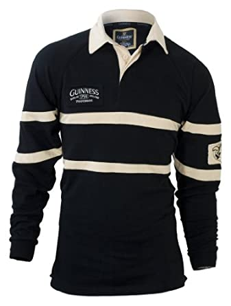 Buy Guinness Mens Black & Cream Traditional Rugby Shirt by Guinness