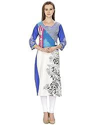 Agroha Kurtis Blue Printed Cotton Straight Long Kurti,Kurta