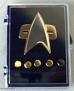 VOYAGER Star Trek Communicator Abzeichen + Rank pin Set 6 teilig Metall