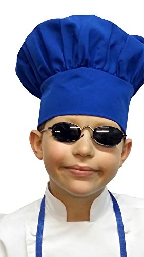 Chefskin Chef Mushroom Hat Kids Children Blue Adjustable Velcro