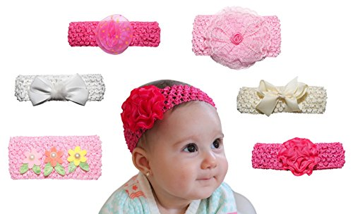6 Pack Baby Headband - Baby Girl Shower Gifts - Perfect for Newborn Photography, 1 Year Olds and Twins, First Birthday