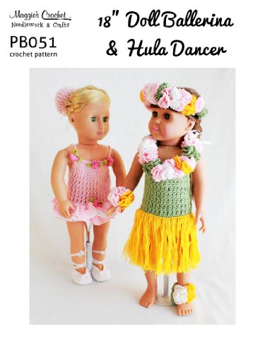 Crochet Pattern 18-in Doll Ballerina & Hula Dancer PB051-R