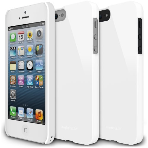 [LF White] Apple iPhone 5 Ringke SLIM LF Premium Hard Case [AT&T, Verizon, Sprint, Unlocked] - Rearth ECO Package