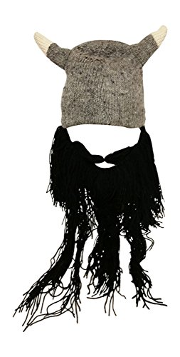 Knit Nordic Viking Hat with Black Moustache and Beard