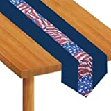 Patriotic Stars & Streamers Fabric Table Runner 6' x 12
