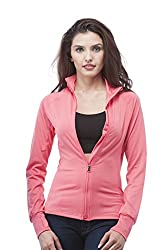 Long Sleeve Zip up Athletic wear sweater jacket (Large, NeonCoral)