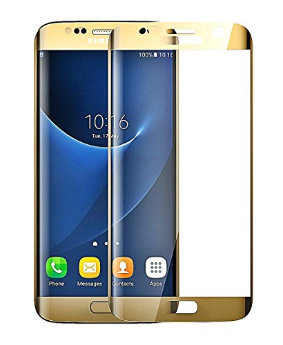 Josi Minea [ Samsung Galaxy S6 Edge ] Curved 3D Tempered Glass Screen Protector with Full Coverage Crystal Clear Ballistic LCD Screen Cover Guard Premium HD Shield for Samsung Galaxy S6 Edge - Gold