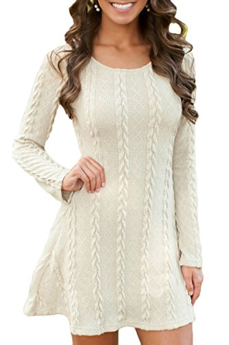 Mulisky Womens Plain A Line Cable Knitted Long Sleeve Mini Sweater Dress White M