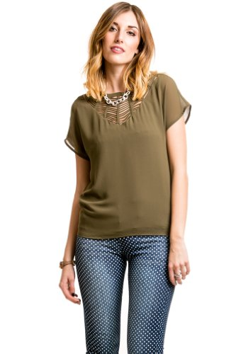Caged Neckline Blouse in Olive
