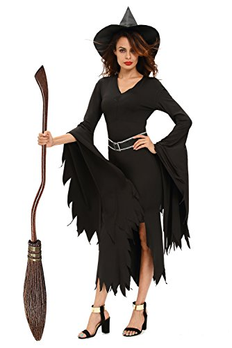 [NuoReel Womens All Black Gothic Witch Halloween Costume US 10-14=Tag Size L Size Black] (Sexy Witch Costumes Plus Size)