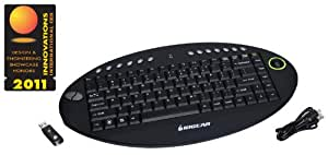 IOGEAR 2.4 GHz Wireless On-Lap Keyboard with Optical Trackball and Scroll Wheel GKM581R (Black)