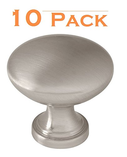 10 Pack - Satin Nickel Traditional Round Solid Cabinet Hardware Knob - 1-1/4