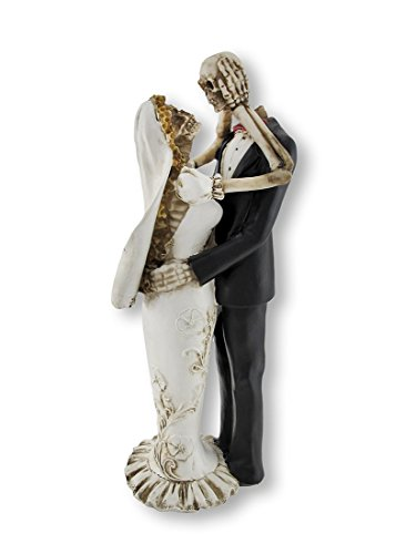 Bride and Groom Skeletons Wedding Statue Cake Topper