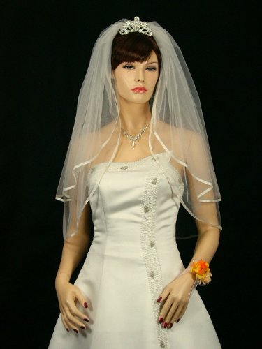 "2T 2 Tier 1/4"" Ribbon Edge Bridal Wedding Veil - Ivory Elbow Length 30"""