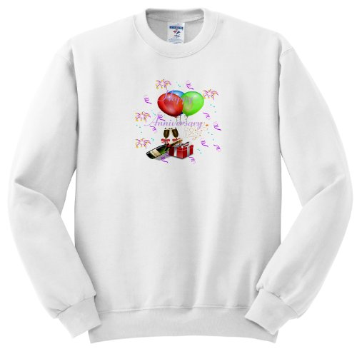 Ss_181035_5 Florene - Special Events - Image Of Balloons And Champagne Bottle With Happy Anniversary - Sweatshirts - Adult Sweatshirt 2Xl front-1078333