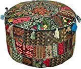 Bohemian Patch Work Pouf Ottoman,Traditional vintage Indian Pouf floor stool/foot Stool, Christmas Decorative Chiar Ottoman Cover,100% Cotton Art Decor Cushion Cover Pouf 14x22''