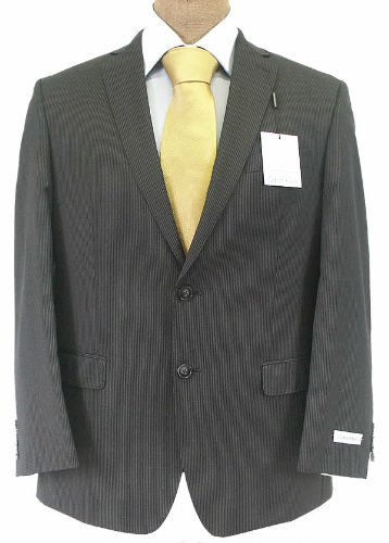 Calvin Klein Mens 2 Button Flat Front Slim Fit Charcoal Gray Pinstripe Wool Suit