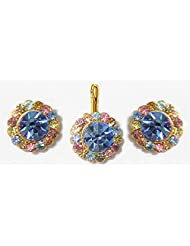 DollsofIndia Light Blue And Multicolor Stone Studded Pendant And Earrings - Metal And Acrylic Bead - Blue