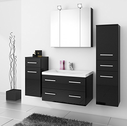 badm bel badezimmer regina 5tlg set in hochglanz anthrazit mit 80cm waschtisch. Black Bedroom Furniture Sets. Home Design Ideas