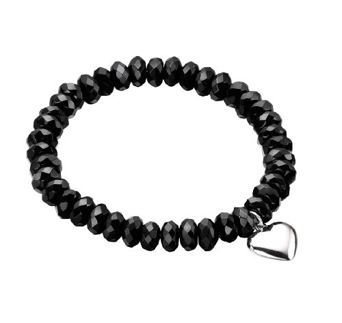 Elements Sterling Silver Ladies' B3923B Black Faceted Bead Stretch Bracelet with Heart Charm