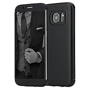Galaxy S7 Edge Case, ROCK® [Dr.V] Ultra Slim Thin Full Screen Display Window Touchable Smart UI Translucent Touch Hard PC+TPU Flip Protective Case For Samsung Galaxy S7 Edge (2016) - Black/Black