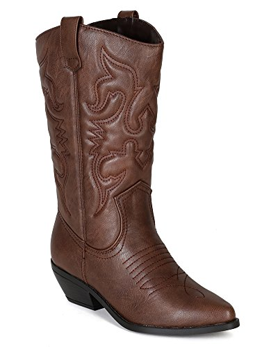Soda BE52 Leatherette Women Embroidered Pointy Toe Cowboy Boot - Tan (Size: 7.5)