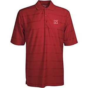 Nebraska Cornhuskers Polo - NCAA Antigua Mens Tone Dark Red by Antigua