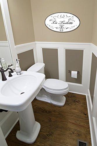 stupell home white with black la toilette oval bath plaque garden decor decorative plaques. Black Bedroom Furniture Sets. Home Design Ideas