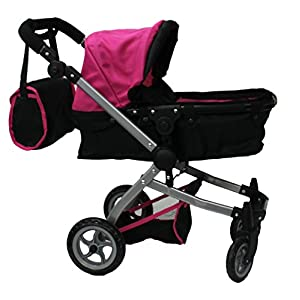Mommy & Me 9651B Babyboo Doll Pram with Swiveling Wheels, Adjustable Handle and  Carriage Bag, Pink