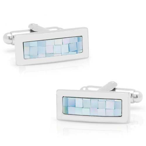 Ox And Bull Mens Plated Blue Mop Tile Mosaic Bar Cufflinks