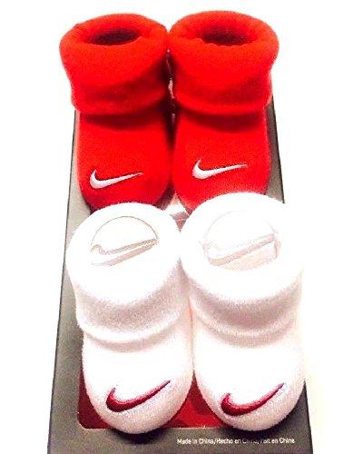 Nike Swoosh Logo Baby Infant Booties Crib Socks, 0-6 Months, Red/White, 2 Pair.