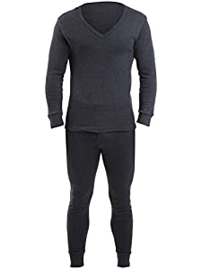 2 Mens Thermal Underwear V Neck Long Sleeve& Long Johns