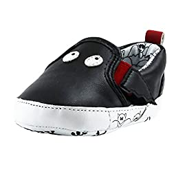 Rosie Pope Black Bat Slip-On Gym Shoes 3-6 Months Infant Crib Shoes Baby Boy Shoes (Faux Leather)
